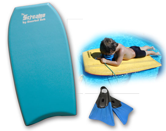 boogie boards and fins
