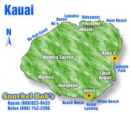 kauai surf spots map Kauai Snorkel Sites Snorkel Bob kauai surf spots map